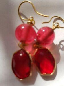 Chunky Red Bohemian Czech Glass Dangle Earrings pools of light tested quartz