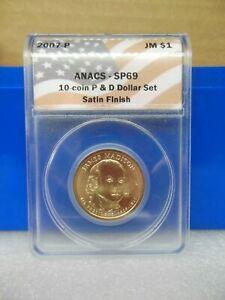2007-P Madison Golden Dollar Anacs SP69  Satin Finish **A Near Perfect Coin**