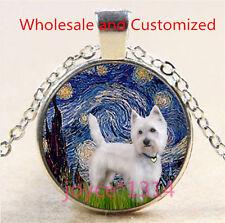 Yorkshire Terrier Cabochon Tibetan silver Glass Chain Pendant Necklace #4626