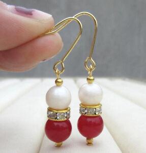 Genuine White Pearl & Red Jade Bead 14K Gold Lever Back Earrings
