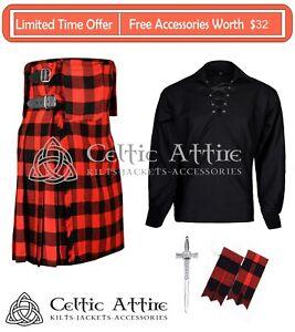 Scottish Premium 8 yard KILT, Tartan Kilt, with Ghillie Shirt, Kilt Pin, Flashes