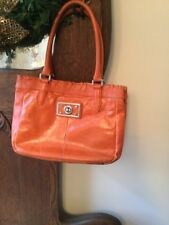 KATE LANDRY Burnt Orange Leather SATCHEL PURSE Bag