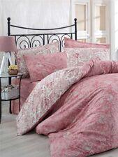 Bettwäsche 200x200 cm Bettgarnitur Bettbezug Baumwolle Kissen 5 tlg YAPRAK PINK