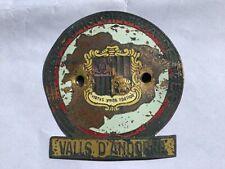 Plakette Car Badge Placca Valls D Andorra Sindicat Inicativa de Les Oldtimer