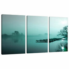 Set of 3 Teal Pictures Canvas Wall Art Landscapes Bedroom Prints 3118