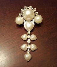 Vintage Style Faux Pearl Rhinestone Silver Tone Drop Dangle Heart Pin Brooch