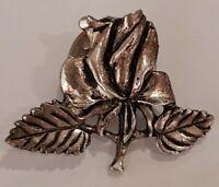 Vintage MASJ Maureen Ann Storey Jones Silver plated wild rose pin Brooch.
