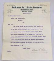 1908 Business Letterhead Letter LaGrange Dry Goods Co Department Store GA 3400