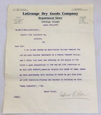 1908 Business Letterhead Letter LaGrange Dry Goods Co Department Store GA 3400