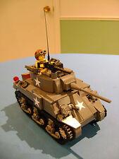 LEGO LOT #66 CUSTOM WW2 WORLD WAR 2 US USA SHERMAN M4A4 TANK WITH MINI FIGURE MG