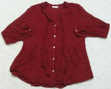 Meadow Rue Burgundy Red Dress Shirt Long Sleeve Women Solid Top Silk Rayon 75/25