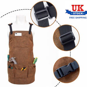 Waxed Canvas Work Tool Apron with Pockets Woodworker Barista Carpenter Apron UK