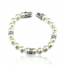 ITALINA 18K WHITE GOLD PLATED & GENUINE AUSTRIAN CRYSTAL AND PEARL BRACELET