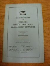 Mar-1958 Cricket: Middlesex - 7th informe de la Comisión de Cricket Junior (marcado