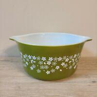 VTG Spring Blossom Crazy Daisy PYREX 1L Cinderella Casserole Dish #473-B GREEN