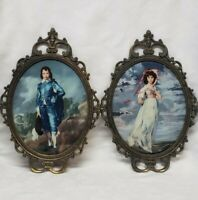 "Vintage Blue Boy & Pinkie Bubble Glass Ornate Metal Frame Wall Picture Set 17"" T"