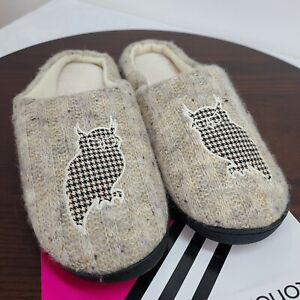Isotoner Womens Classics Clog Slippers 8.5 /9 Multi Owl Slip On Mule Hard Sole