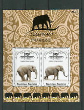 Togo 2014 MNH African Elephant 2v S/S II Wild Animals Elephants Stamps