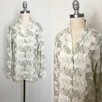 Vintage 70s Eagle Brand Floral Muted Blouse Size Medium
