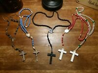 Lot of 6 vintage wood, Plastic and Metal Rosaries Religious Catholic Rosary Bead