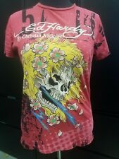 Ed Hardy by Christian Audigier T-Shirt Size M Skull Flowers Red Yellow *Worn 1x