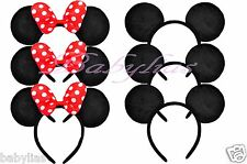 12 Minnie Mouse Ears Mickey Headbands Black RED Bows Birthday Party Favors