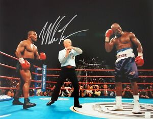 Mike Tyson Autographed 16x20 Biting Holyfield ASI Proof