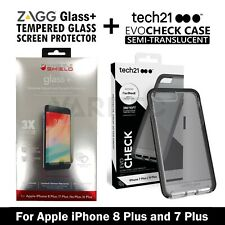 Zagg Glass Screen Protector + Tech21 Gel Case Cover for iPhone 8 Plus 7 Plus