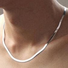 Women Men Silver Plated Flat Snake Chain Choker Necklace Surprise