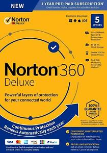 Norton 360 Deluxe 2021 5 Devices 5 PC 1 Year Secure VPN Internet Security 2020
