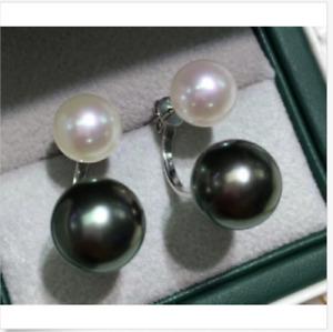 HOT Sale Mignon AAA++ 7-10mm South Sea White&Black Pearl Earrings 925 silver