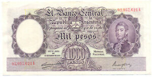 Argentina Banknote Choice Xf 1000 $ Red Numbers Pick 269b