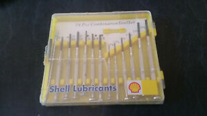vintage shell lubricants screw driver set nos still sealed in plastic