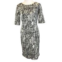 Betsey Johnson 4 Womens Snakeskin Print Dress White Black Stretch Animal Print