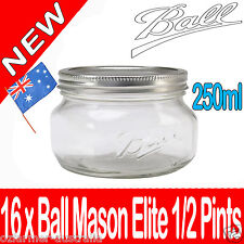 16 x 250ml Ball Mason Elite Collection Half Pints Jar Preserving Candles Canning