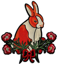 """Rabbit Flower Precision Embroidered Patch Easter Jacket 11"""" Back Garland"""