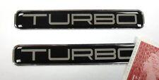 2 x TURBO Stickers Super Shiny Domed Finish - Chrome Text on Black