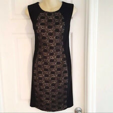 R & M RICHARDS Womens Dress Size 10P Black Sheath Sleeveless Lace and Sequin