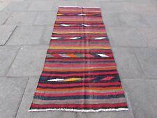 Kilim Old Traditional Handmade Persian Oriental Red Wool long Kilim 240x100cm