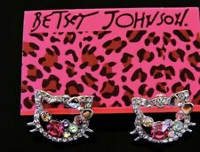 Betsey Johnson Hello Kitty Earrings  GOLD Crystals Adorable