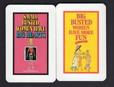Vintage Swap/Playing Cards - Big/Small Busted Women Humour Pair (4)