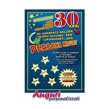 Cartolina compleanno auguri 30 anni IDEA REGALO BIGLIETTO BIGLIETTINO