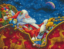 """New listing Dimensions Gold Collection Santas Midnight Ride Cross Stitch Kits - 14""""x11"""""""