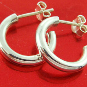 Stud Hoop Earrings Genuine Hallmarked Real 925 Sterling Silver Ladies Design