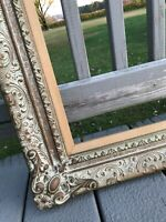 Antique Ornate Wood Carved Frame Picture Photo Gesso Painting Gold Gilded 28x22