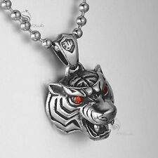 Silver tiger pendant red crystal stainless steel ball chain necklace