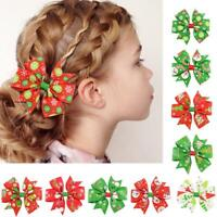 12PCS Christmas Bow Hair Clip Alligator Clips Girls Ribbon Kids Accessories Best