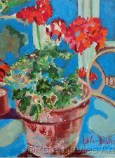 "NEW ORIGINAL PETE DAVIES ""Geraniums"" Pelargoniums flower OIL CANVAS PAINTING"