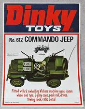Dinky Toys 612 Commando Jeep Shop Window Display Poster Sign ORIGINAL