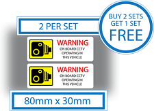 2 x Warning On Board CCTV Operating In This Vehicle Stickers Vinyl Dash Cam Sign